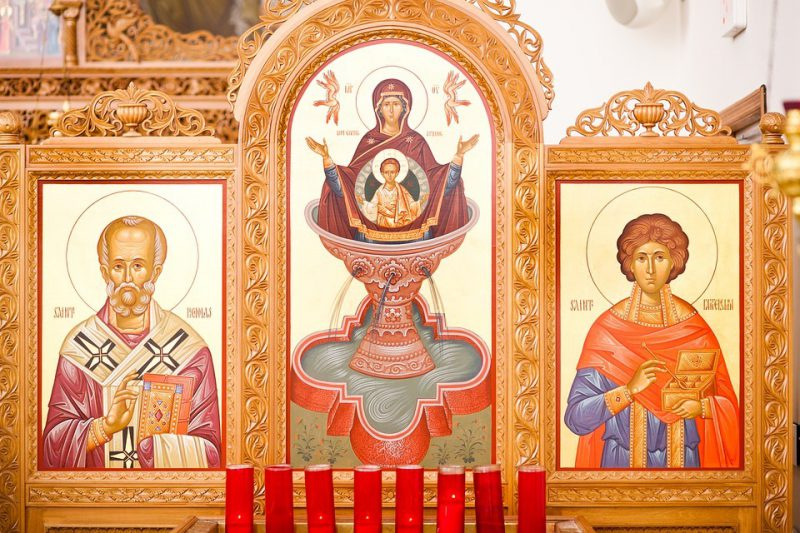 Icons of Saints in an Orthodox Church