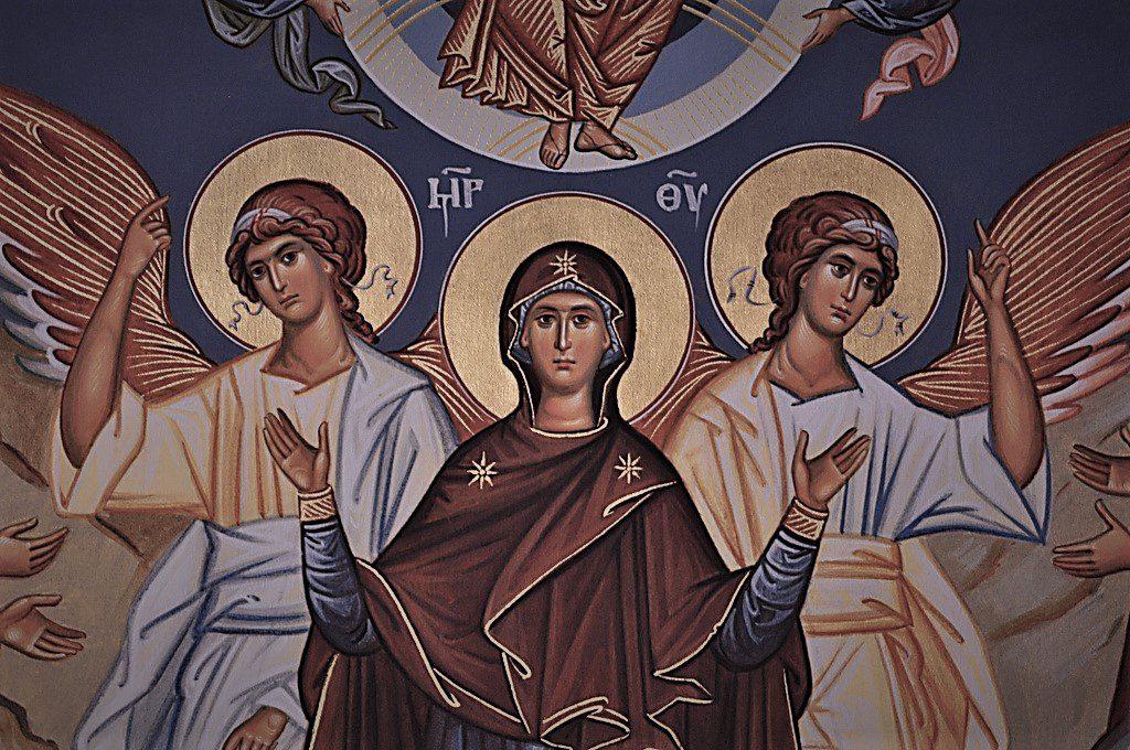 An icon of the Virgin Mary, or Theotokos.