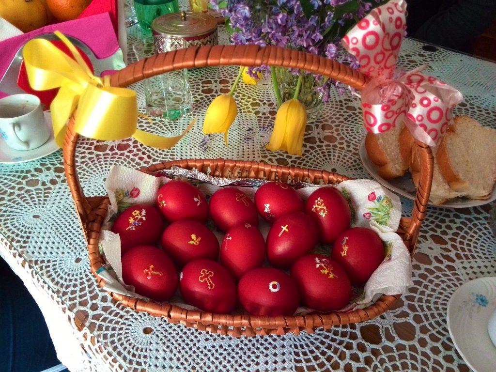 Basket of Orthodox Easter eggs