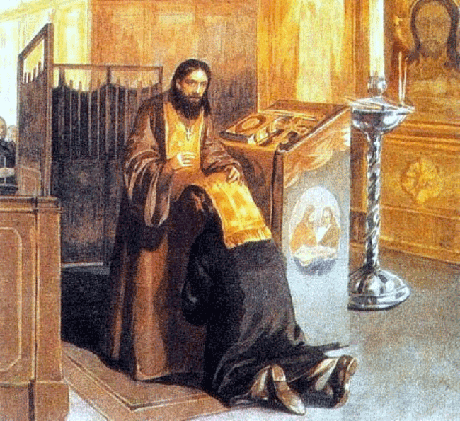 Man attending Confession in an Orthodox Church.
