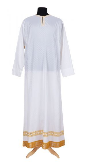 White baptismal robe or sticharion, a liturgical vestment for Orthodox priests and bishops.