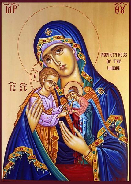 Eastern Orthodox icon of the protectress of victims of abortion.