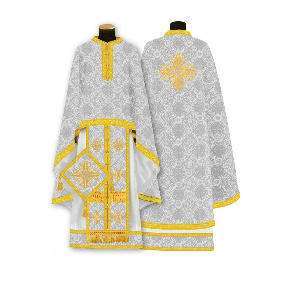 White Greek style phelonion, a vestment for Orthodox priests.