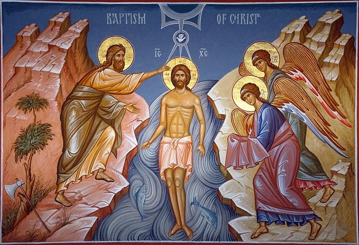 An Orthodox icon of the Baptism of Christ
